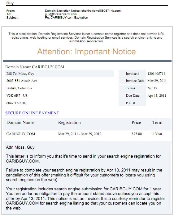 email scam registrationdom.com