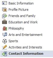 facebook contact menu