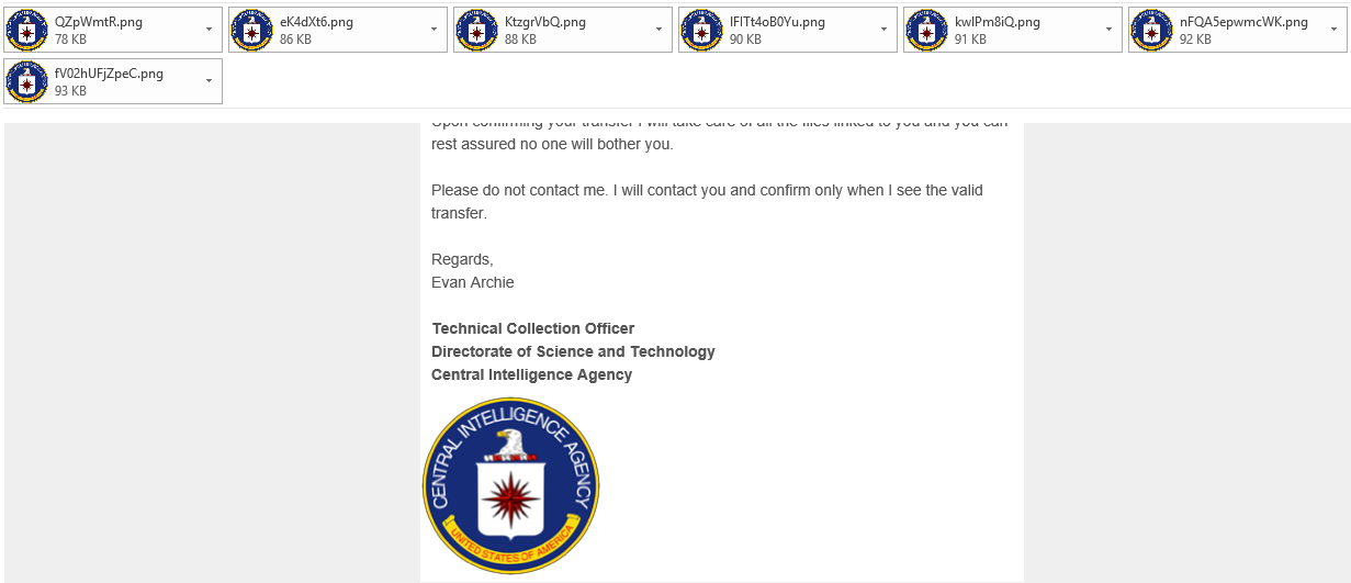 central intelligence agency spam email