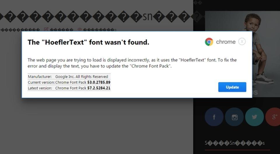 Alert: Chrome Fake Font Update